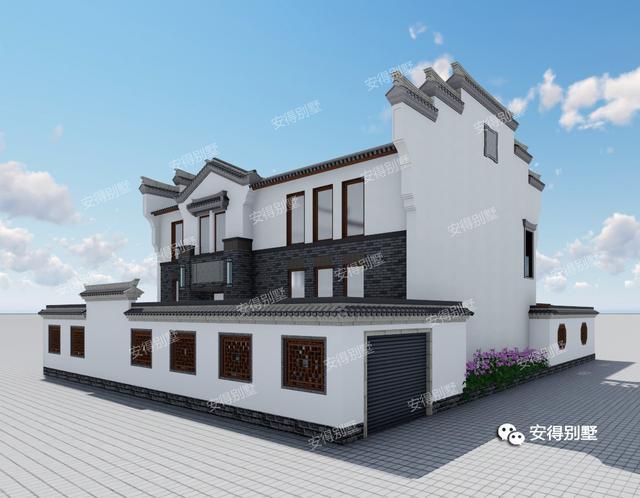 农村新中式别墅,客厅宽院子大,好看实用
