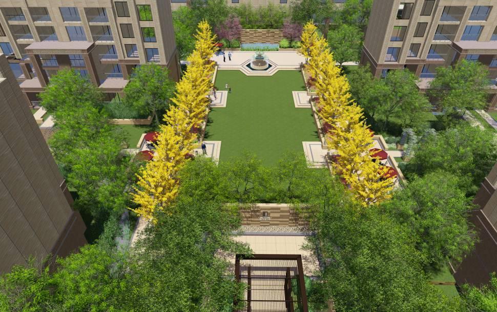 景观的阳光仪式,列植的草坪树阵,将规则与尊贵感的到底打造进行.设计师英文会用中文字体吗图片