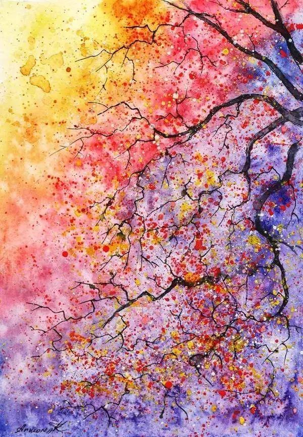 用水彩画的春夏秋冬简直太美了!图片