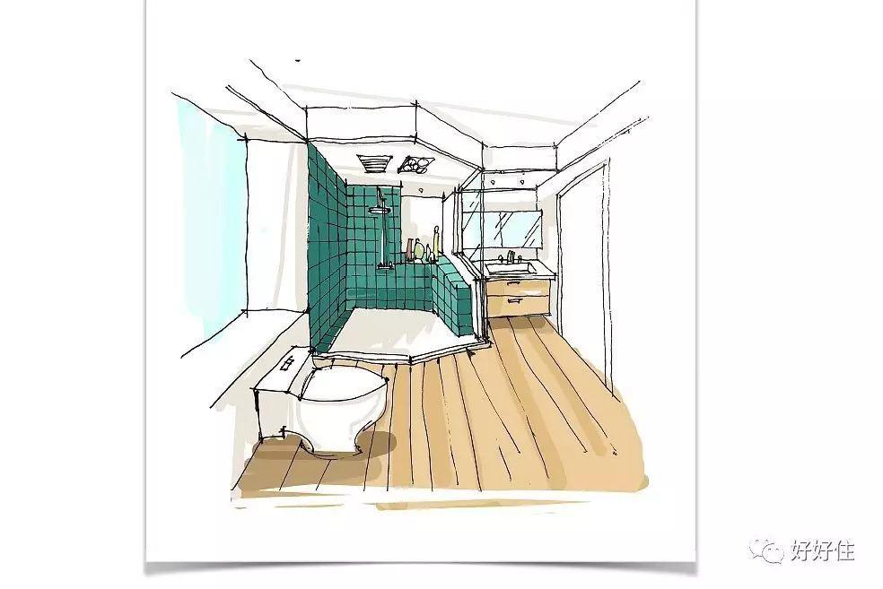 主卫生间手绘图:因干湿分区严格,地面用了木地板,光脚进卫生间再也不