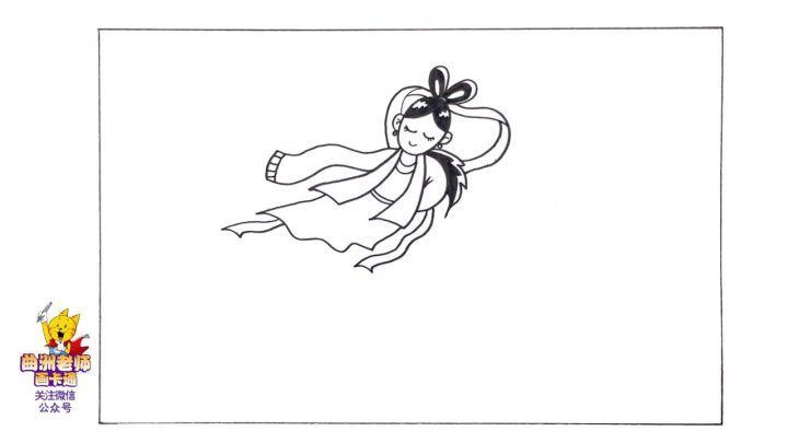 2我在画面的中间画出了美丽的嫦娥,要把她画的飘逸一些.图片
