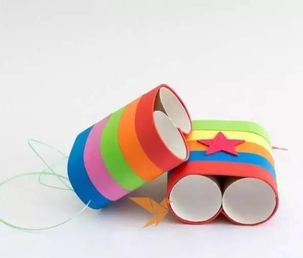 幼儿园手工制作彩虹望远镜,纸盘飞船(附制作过程~)