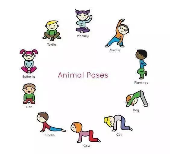 你也可以模仿小动物为切入点,模仿一只小猴子,一条蛇,一只小猫咪,都