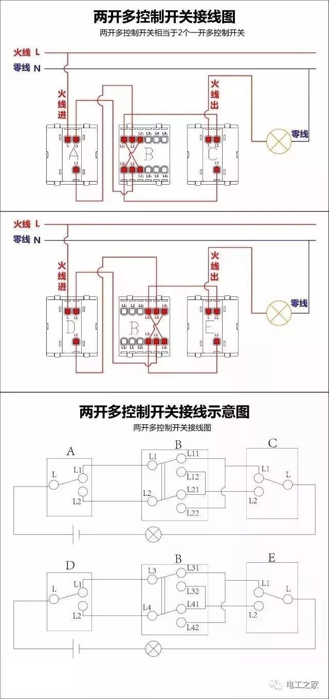 双控开关c的l极出线作为灯泡的火线,这样就完成接线了.