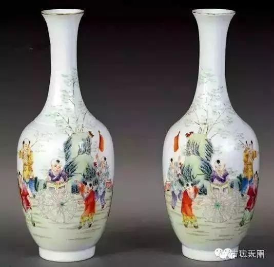 民国 粉彩婴戏柳叶瓶图片