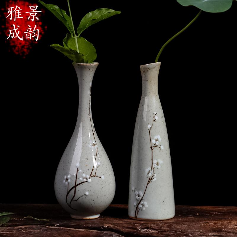 景德镇陶瓷器 手绘小花瓶花器禅意 瓷瓶客厅摆件日式花瓶插花创意