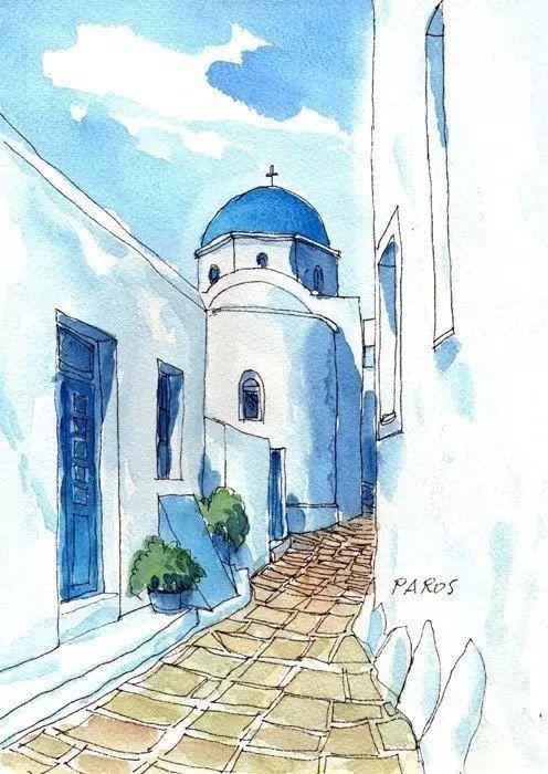 初级简单彩风景画_一组简单的【冷色系列】的钢笔淡彩建筑风景画.