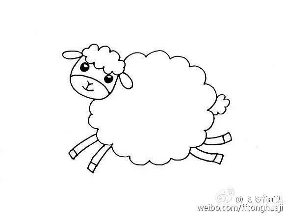简笔画 可爱的小绵羊