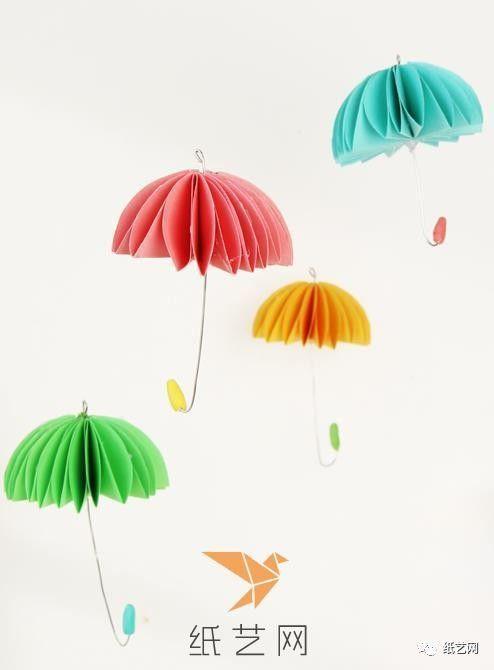 儿童手工制作春天的花雨伞折纸伞制作教程