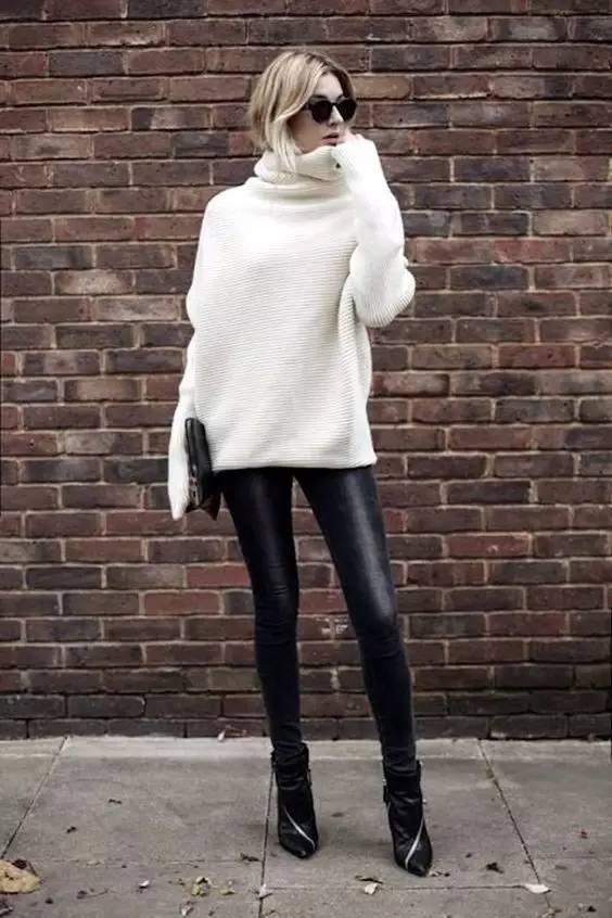 时尚|大毛衣+紧身裤,简约单品穿出不俗气质! 4