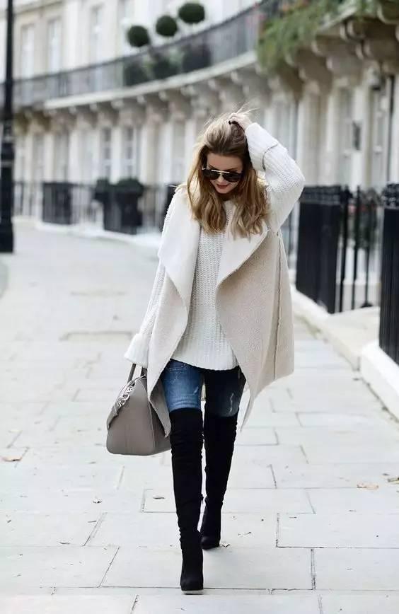 时尚|大毛衣+紧身裤,简约单品穿出不俗气质! 19