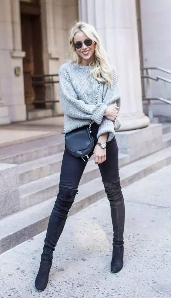 时尚|大毛衣+紧身裤,简约单品穿出不俗气质! 16