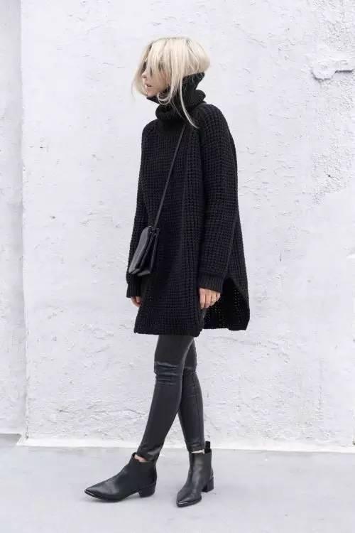 时尚|大毛衣+紧身裤,简约单品穿出不俗气质! 9