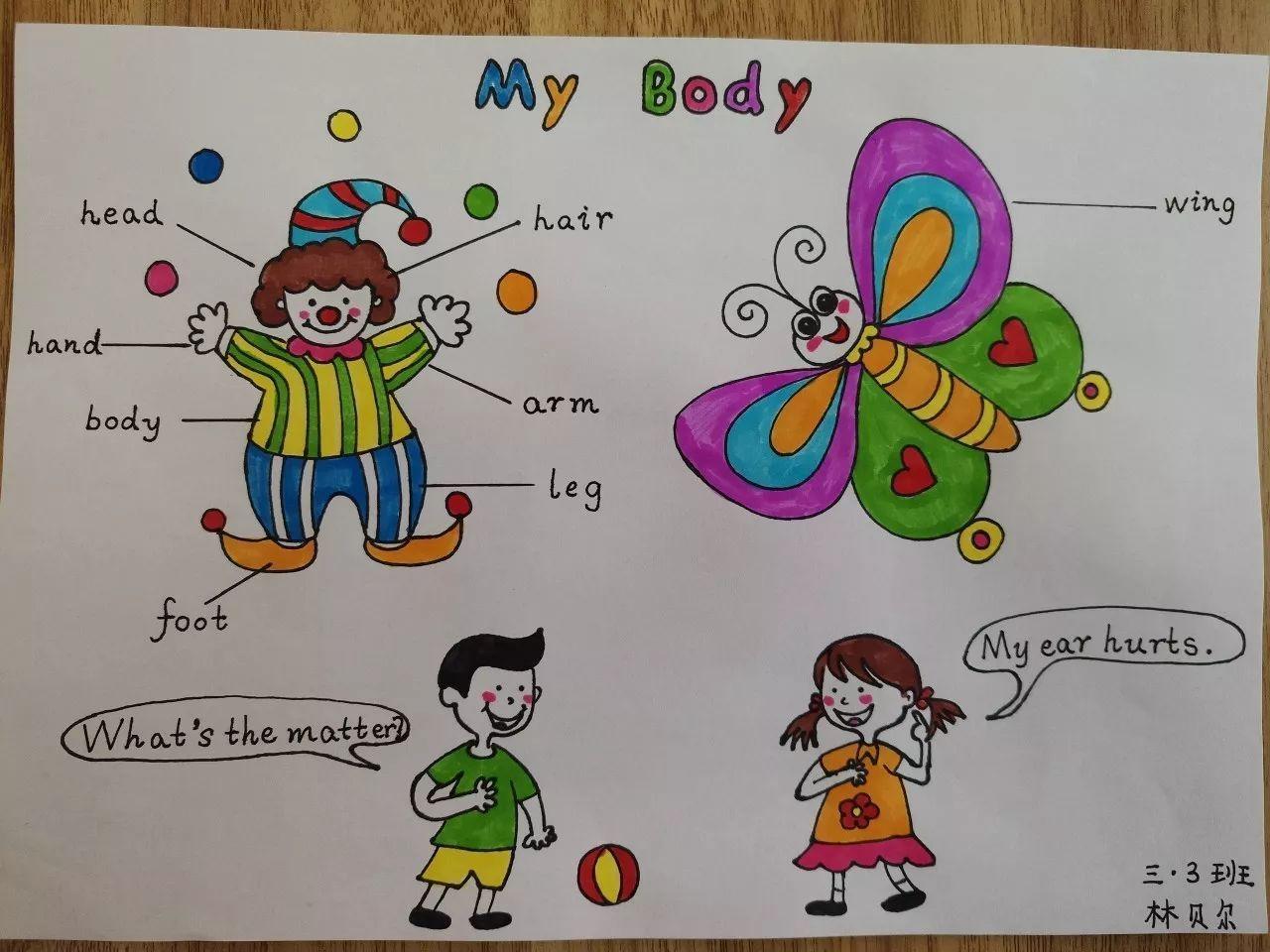三年级英语手抄报内容图画一等奖漂亮 小小画家