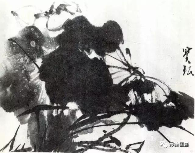水墨写意荷花和荷叶画法的详细步骤图解,荷花花语