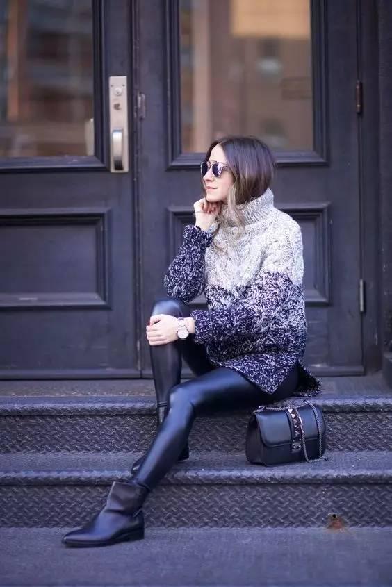 时尚|大毛衣+紧身裤,简约单品穿出不俗气质! 10
