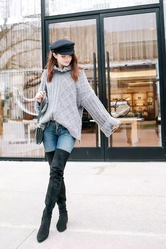 时尚|大毛衣+紧身裤,简约单品穿出不俗气质! 13