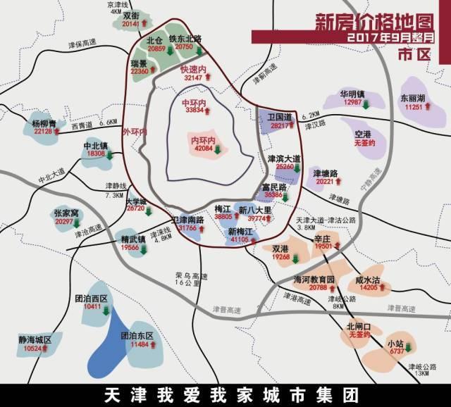 武清9月份房产成交价格地图,看完你就知道了.