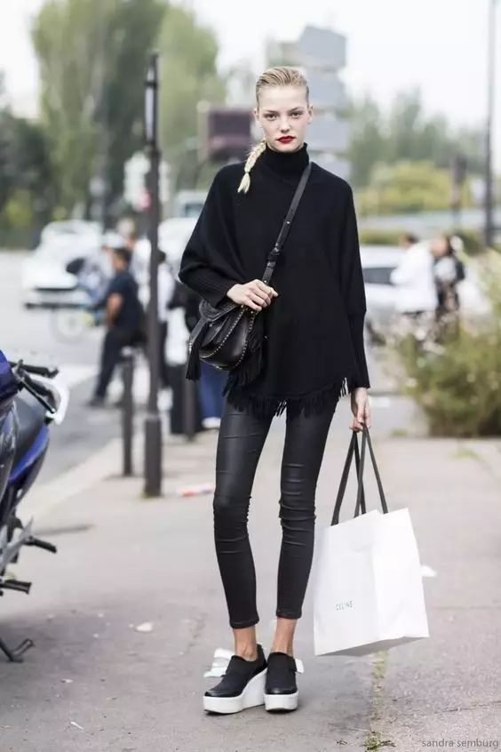 时尚|大毛衣+紧身裤,简约单品穿出不俗气质! 7