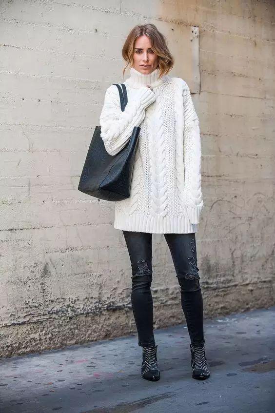 时尚|大毛衣+紧身裤,简约单品穿出不俗气质! 5