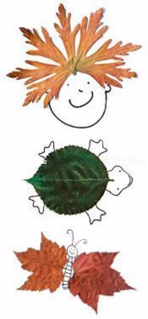 将树叶变成碎片后进行拼贴画图片
