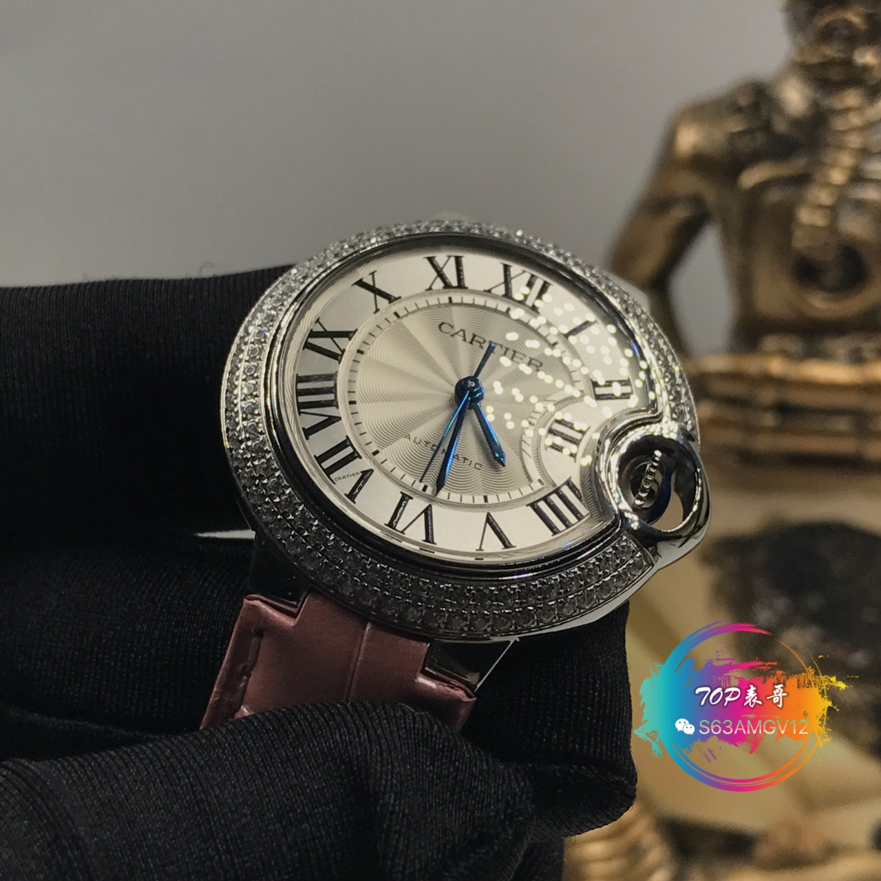 品鉴 卡地亚蓝气球36毫米机械镶钻圈WE900651腕表