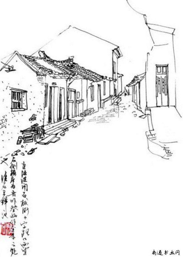 悠悠老街房子简笔画