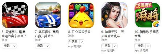 10月10日苹果游戏榜单:《花椒娱乐》进入免费榜前十