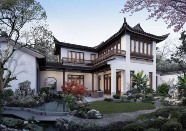 很美的中式园林小院,也难怪它开盘当天售罄,入住率这么高的小别墅真的图片