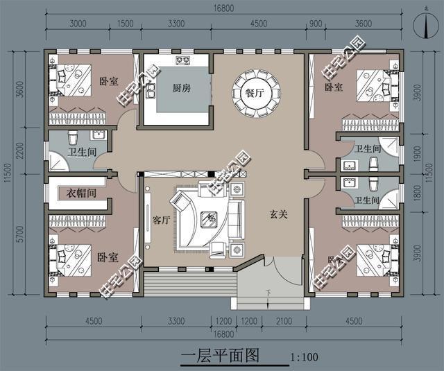 新农村平房户型,面宽16米,两种方案哪个好?大门为啥是图片