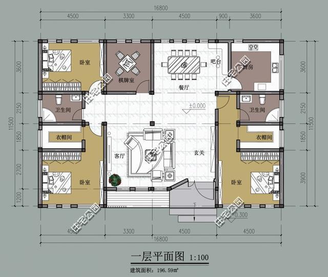 新农村平房户型,面宽16米,两种方案哪个好 大门为啥是斜的