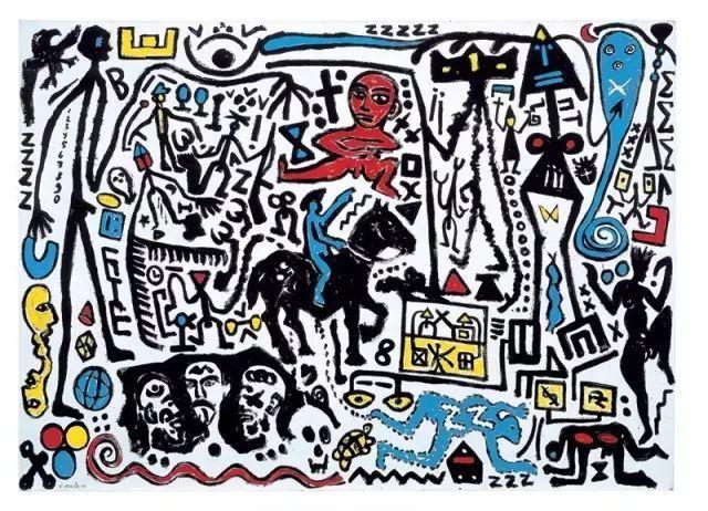 洞穴壁画和象形图风格的图像,彭克的作品让人联想起各种文化与时代.图片