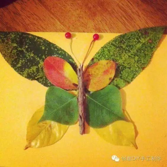 彩绘叶子画-秋天主题 捡叶子捡出创意无限
