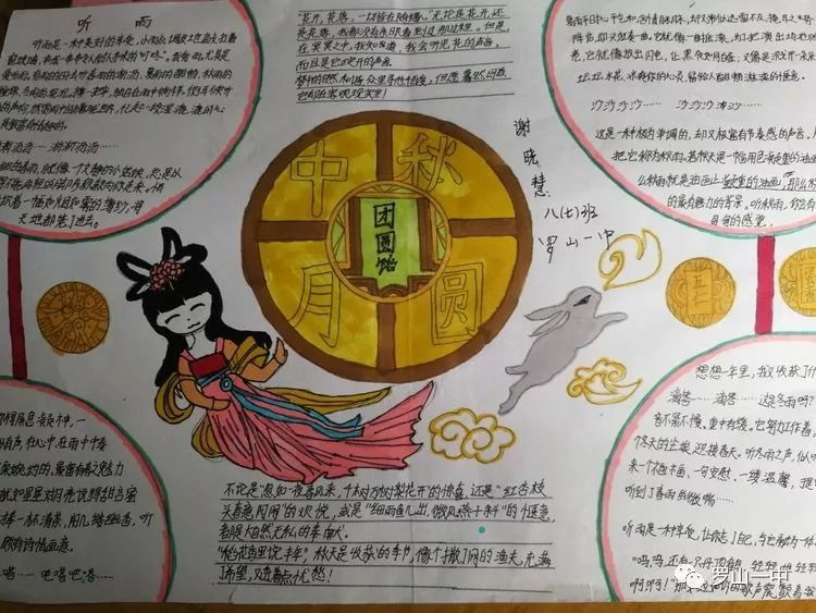 """情系中秋,爱我中华——罗山一中学生""""迎中秋,庆国庆""""手抄报展简讯图片"""