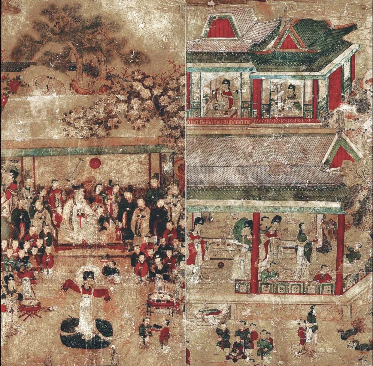 古代朝鲜高丽王朝的绘画作品,描绘了周穆王与西王母在瑶池相见的场景