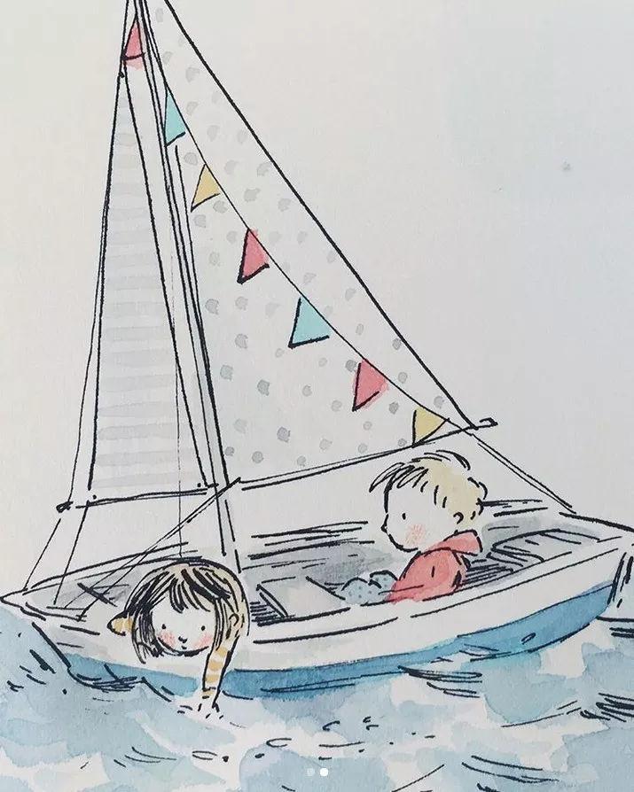 帆船图片手绘上色