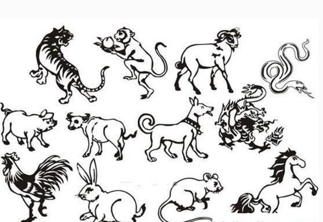 十二生肖,通过简笔画认识不同样子不同形状的生肖,看看简笔画中的生肖都有着怎样的样子,十二生肖简笔画图片大全.