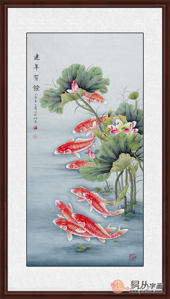 九鱼图:顾名思义《九鱼图》描绘的是九条正在水中嬉戏的鲤鱼.