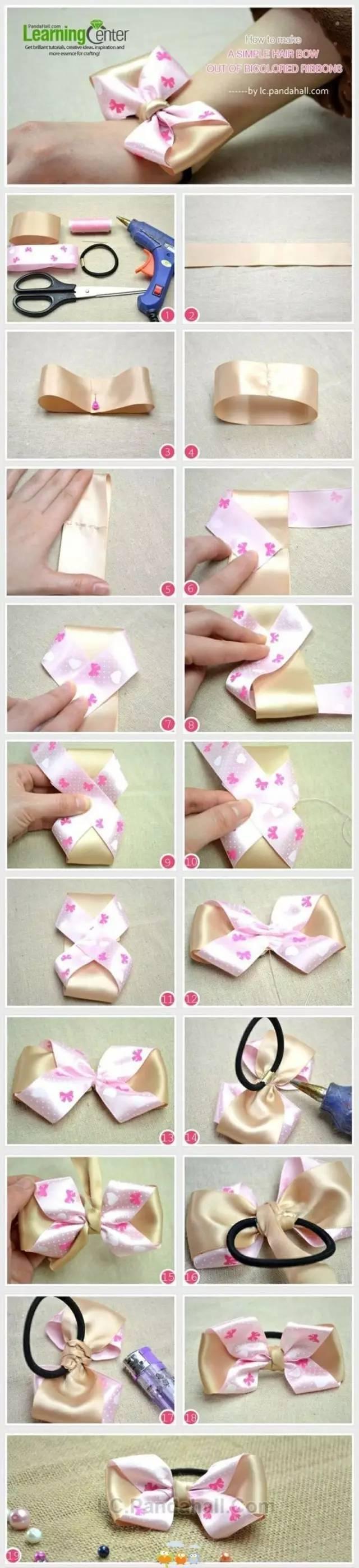 《蝴蝶结3》 准备材料:尼龙布,热熔胶,剪刀,针线,夹子 制作步骤图解