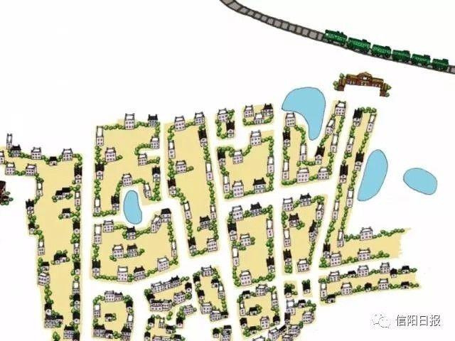 信阳古城手绘地图的信阳火车站区域
