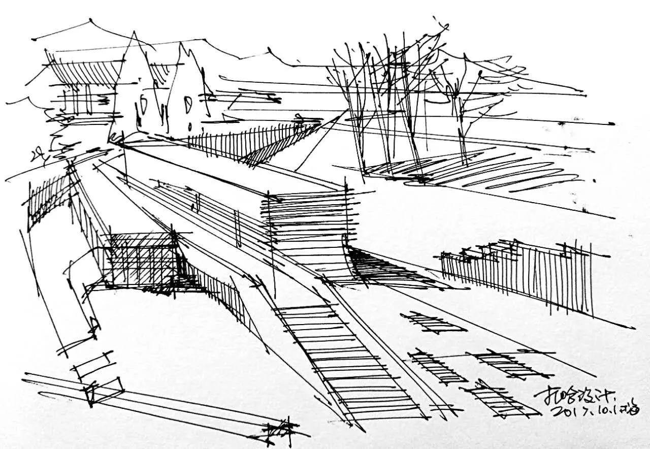 法国建筑简笔画手绘