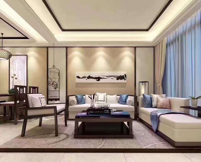 客厅 电视背景墙,电视柜选用较深色木板材料; 吊顶装饰用木条贴边图片