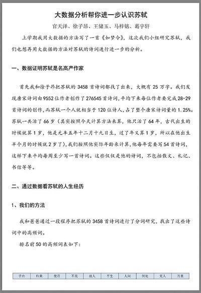 清华附小学生撰写苏轼研究报告 校方:老师指导完成