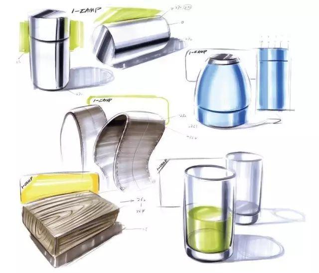 厨房立面手绘效果图马克笔
