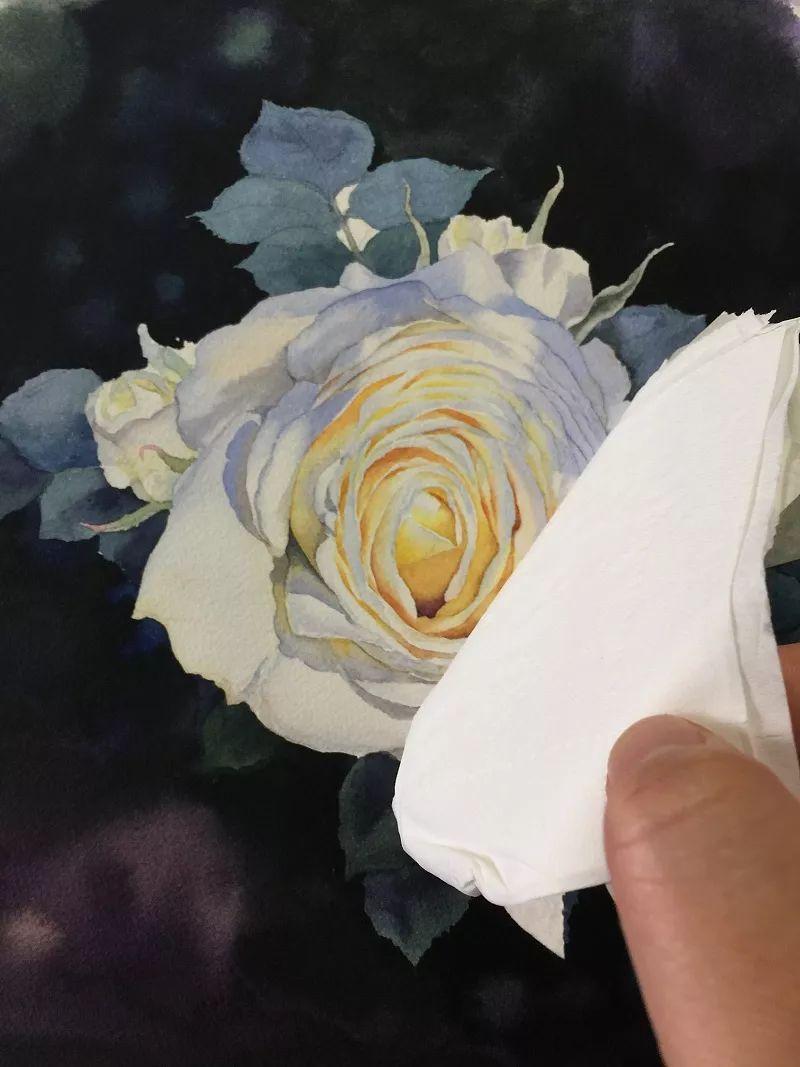 如何用水彩画一朵白玫瑰?(超详细教程)