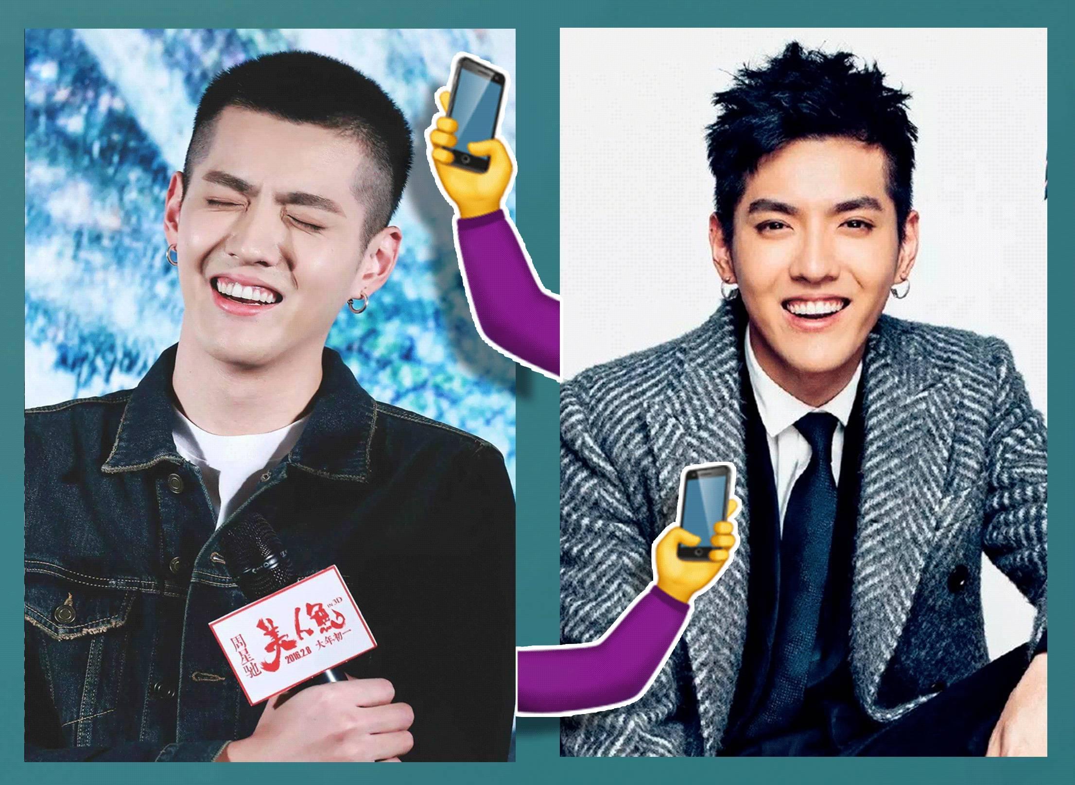 吴亦凡的椭圆形脸可以驾驭多种发型,据说他3年一共换过17种短发.图片