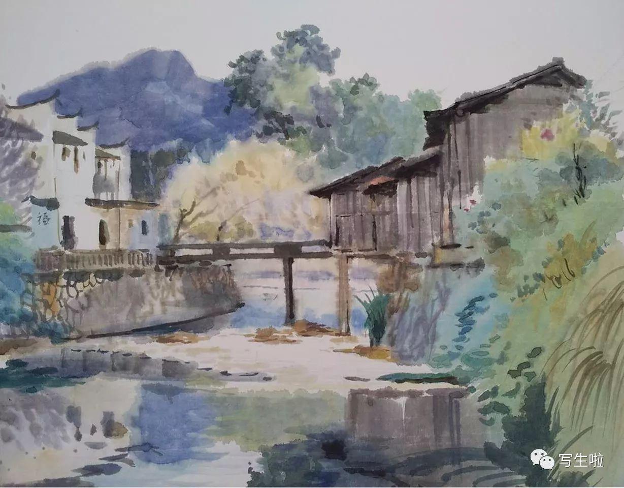 画中婺源 尹文最新水彩风景写生作品图片