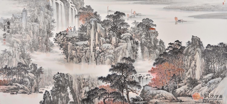 当代国画大师林德坤写意山水画作品《观瀑图》