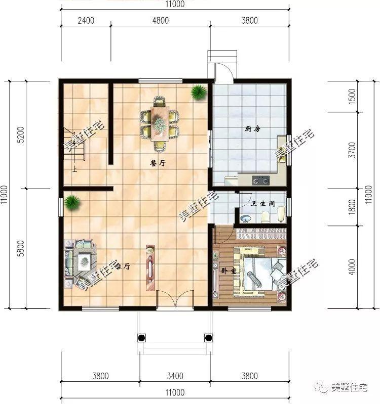 11x11米2层半农村自建房,不仅是造型接地气,还带阳光房