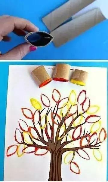 秋日的大树 来个立体的秋日大树 三,手指画大树 在手臂上涂上颜料图片